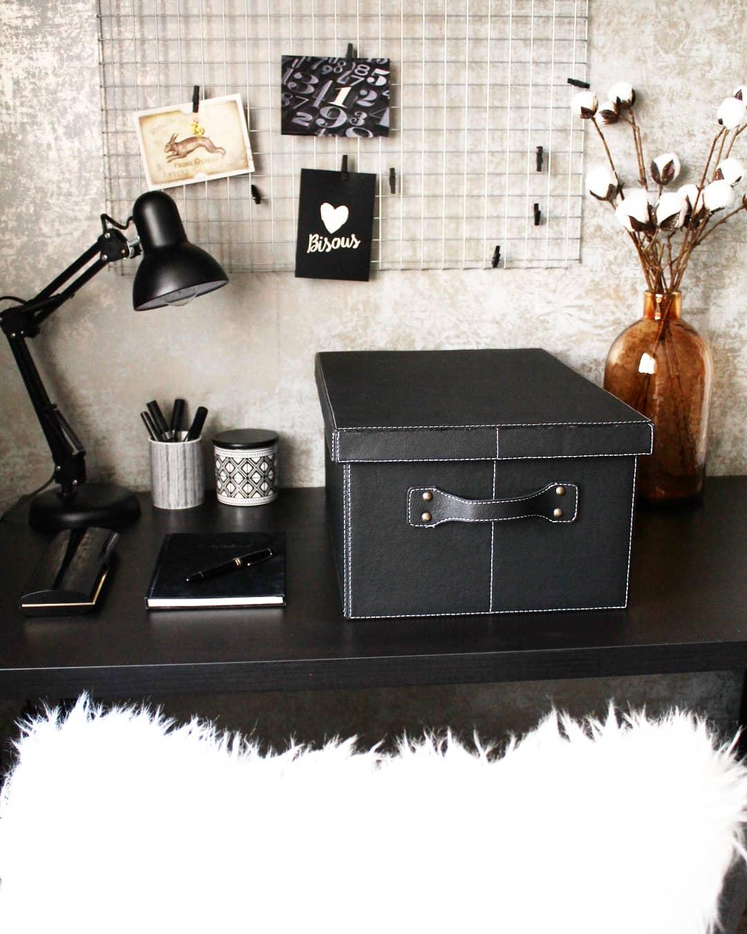 aufbewahrungs box gro mit deckel schwarze kiste deko. Black Bedroom Furniture Sets. Home Design Ideas